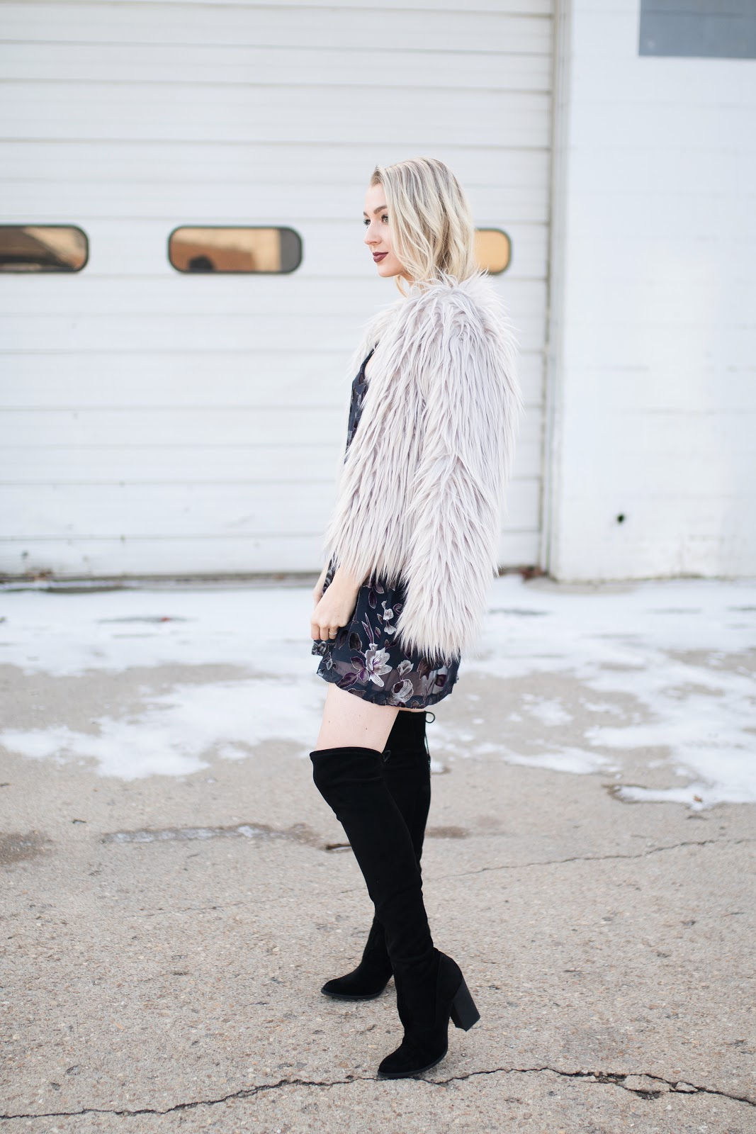 slip dress with a faux fur jacket