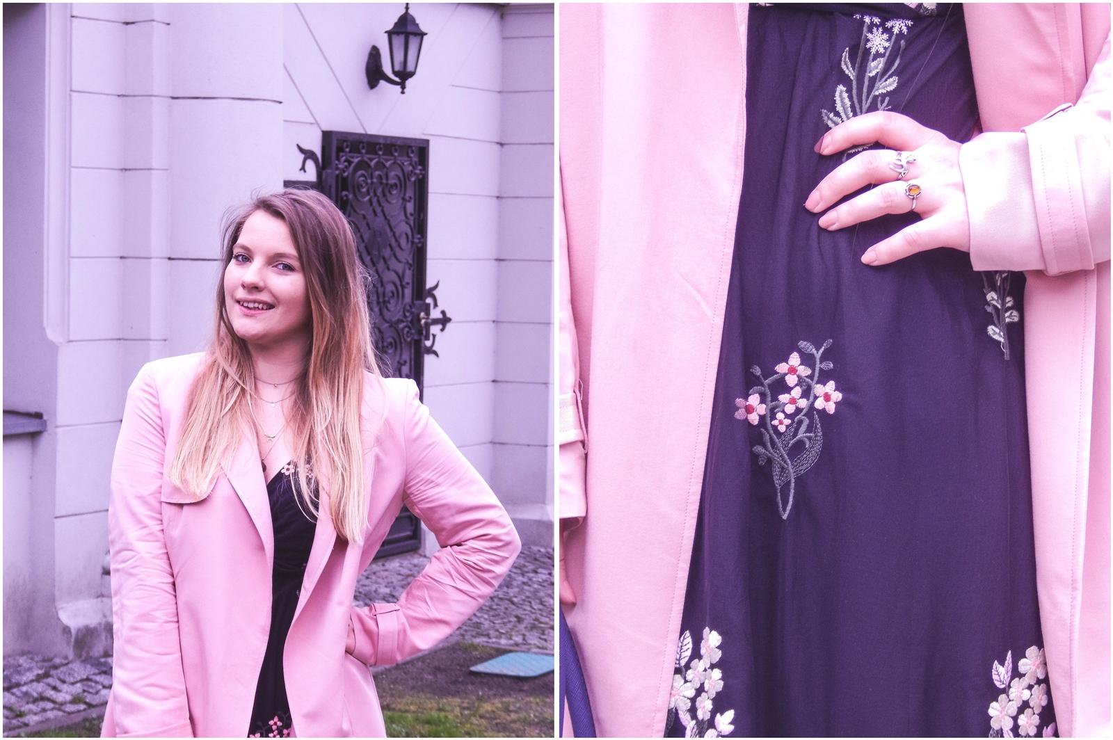 3a total look rsay trendy wiosna 2018 nowa kolekcja moda fashion blog blogerki modowe łódź z łodzi łódzkie melodylaniella fashion instagram sukienka na wesele różowy płaszcz granatowe pantofle