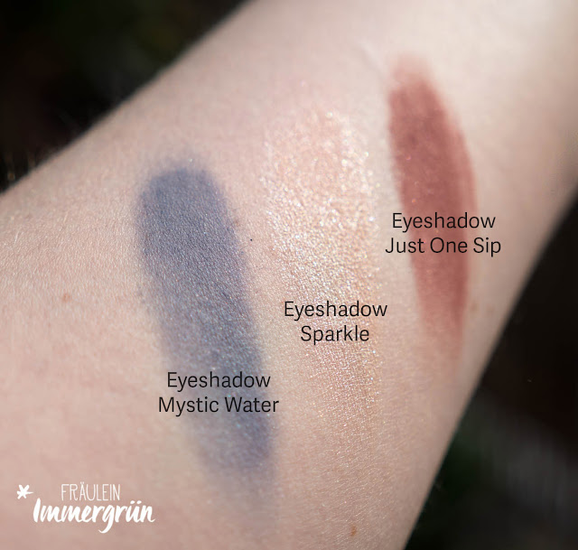 Uoga Uoga Eyeshadows Mystic Water, Sparkle und Just One Sip Swatches