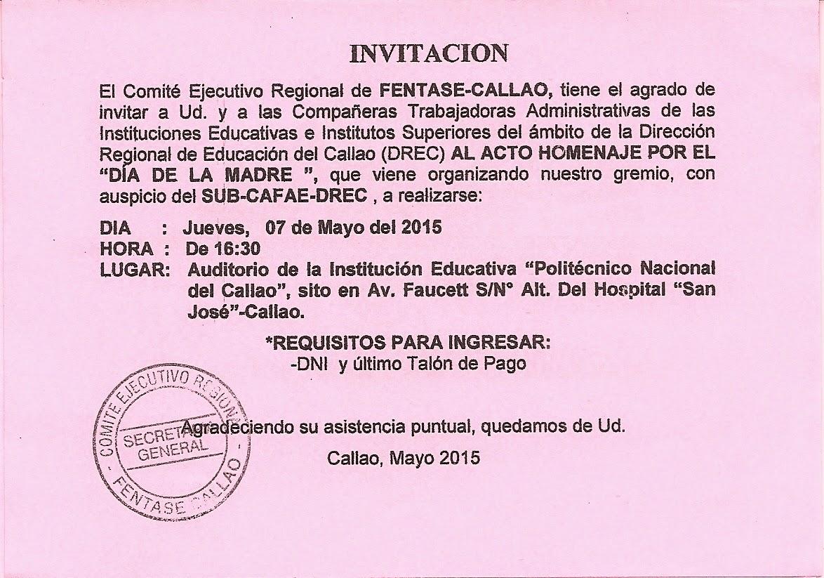 Invitacion DÍa De Las Madres RegiÓn: CALLAO : ¡INVITACIÓN PARA ACTIVIDAD POR EL