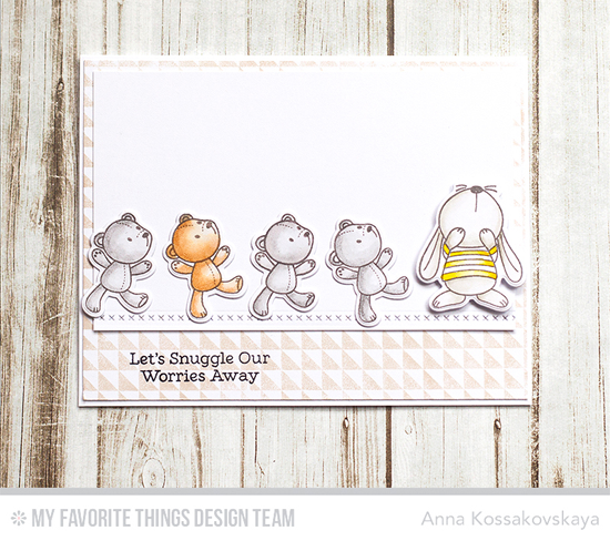 Let's Snuggle Card by Anna Kossakovskaya featuring the Snuggle Bunnies stamp set and Die-namics, Split Triangle Background stamp, and Stitched Basic Lines Die-namics #mftstamps