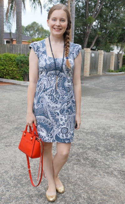 french connection blue paisley print sheath dress, red rebecca minkoff mini avery bag | awayfromblue