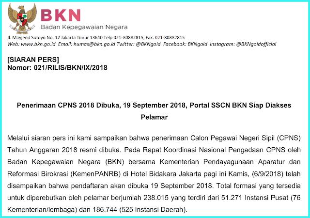jadwal penerimaan cpns 2018 resmi dibuka
