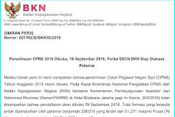 BKN Resmi Umumkan Jadwal Penerimaan CPNS Dibuka Tanggal 19 September 2018
