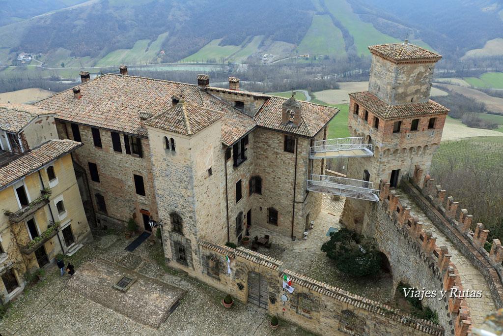 Vistas desde del castillo de Vigoleno, Piacenza, Italia