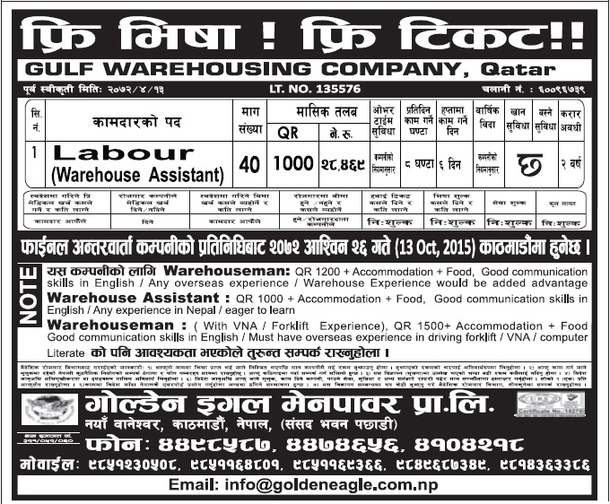 Free Visa Free Ticket Jobs in Qatar for Nepali, Salary Rs 28,469