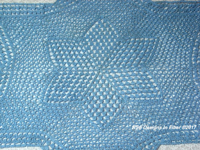 Closeup of 18 Inch Blue Star Lace Center - showing the center Star Shape in a different pattern - By RSS Designs In Fiber