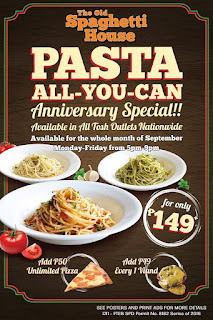 The Old Spaghetti House Pasta All-You-Can Anniversary Special, TOSH pasta all you can, food, Philippines eat