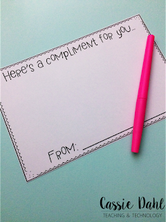 Giving compliments is a crucial life skill that students need to learn and practice! This blog post has ideas and freebies that will help you build a classroom community that invites students to give compliments.