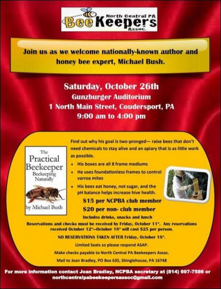10-11/26 Bee Keepers Event, Coudersport, PA