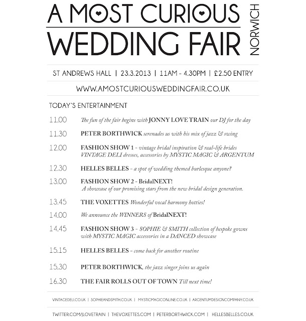 A Most Curious Wedding Fair Blog: Running Order For The