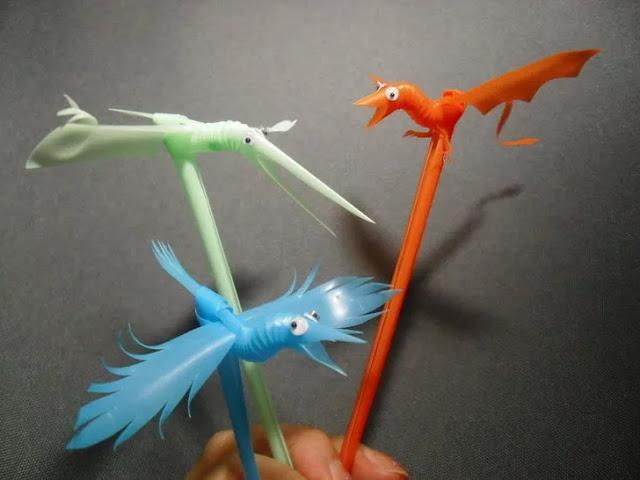 burung dari sedotan plastik