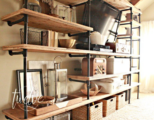 DIY Industrial Shelves by Twelve on Main|One More Time Events-www.onemoretimeevents.com
