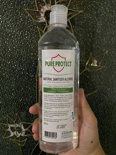 A big bottle of Pure Protect Natural Sanitizer Alcohol