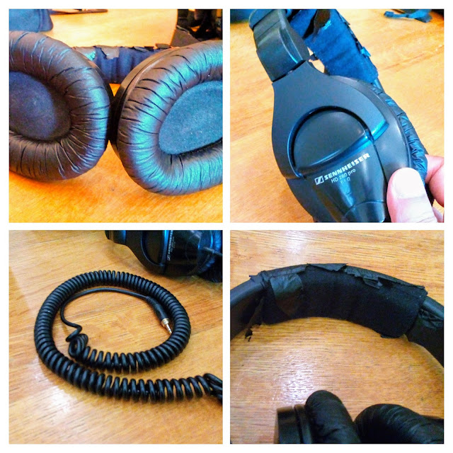 Sennheiser HD 280 Pro Headphones - A four picture collage of the headband, closed in-ear padding and coiled wire.