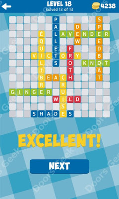 Cheats, Solutions for Level 18 in 13 Word Connect by Second Gear Games