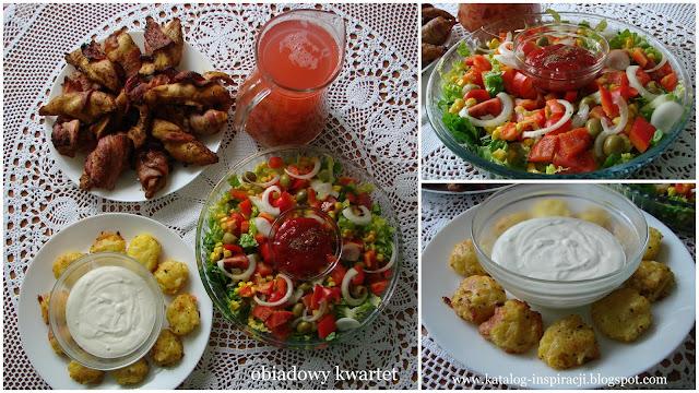 kotleciki ziemniaczane, letnia sałatka, kompot