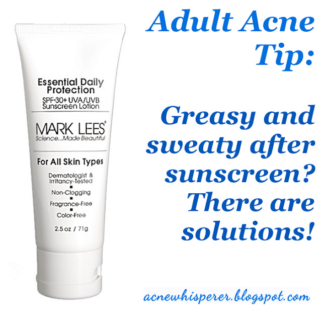 Feeling sweaty and greasy after sunscreen is normal!  Find out what to do on the AcneWhisperer Blog.