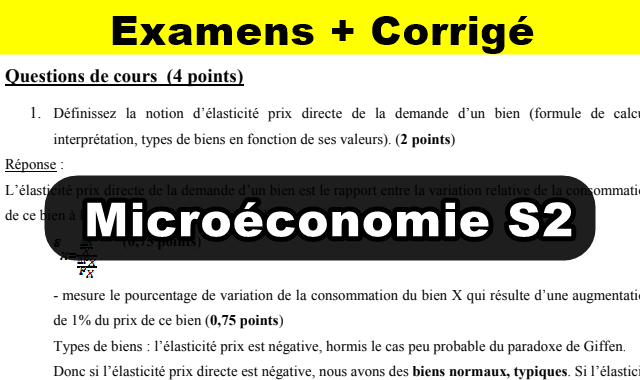 Microéconomie S2 Examen Corrigé