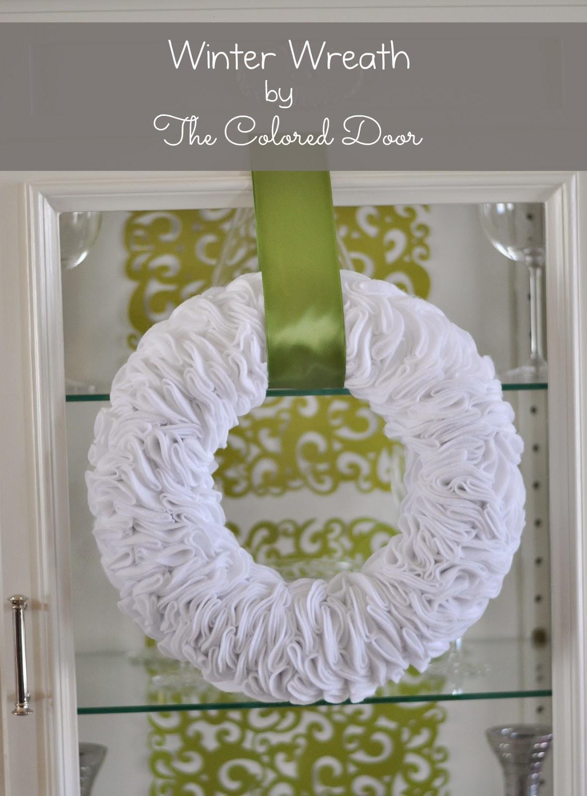 the colored door winter wreath. Black Bedroom Furniture Sets. Home Design Ideas