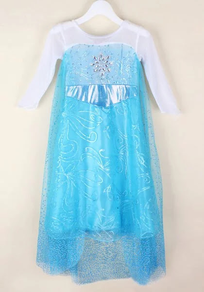 Stylish Long Sleeve Scoop Neck Spliced Sequin Embellished Cosplay Dress For Girls - Blue - 120
