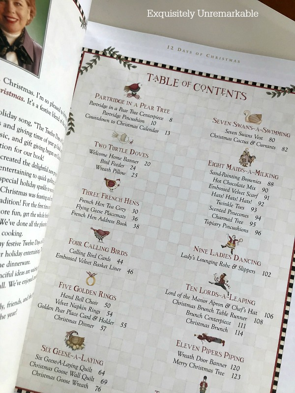 Debbie Mumm 12 Days Of Christmas Table of Contents