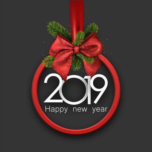 2019 christmas decor with red bows free vector file