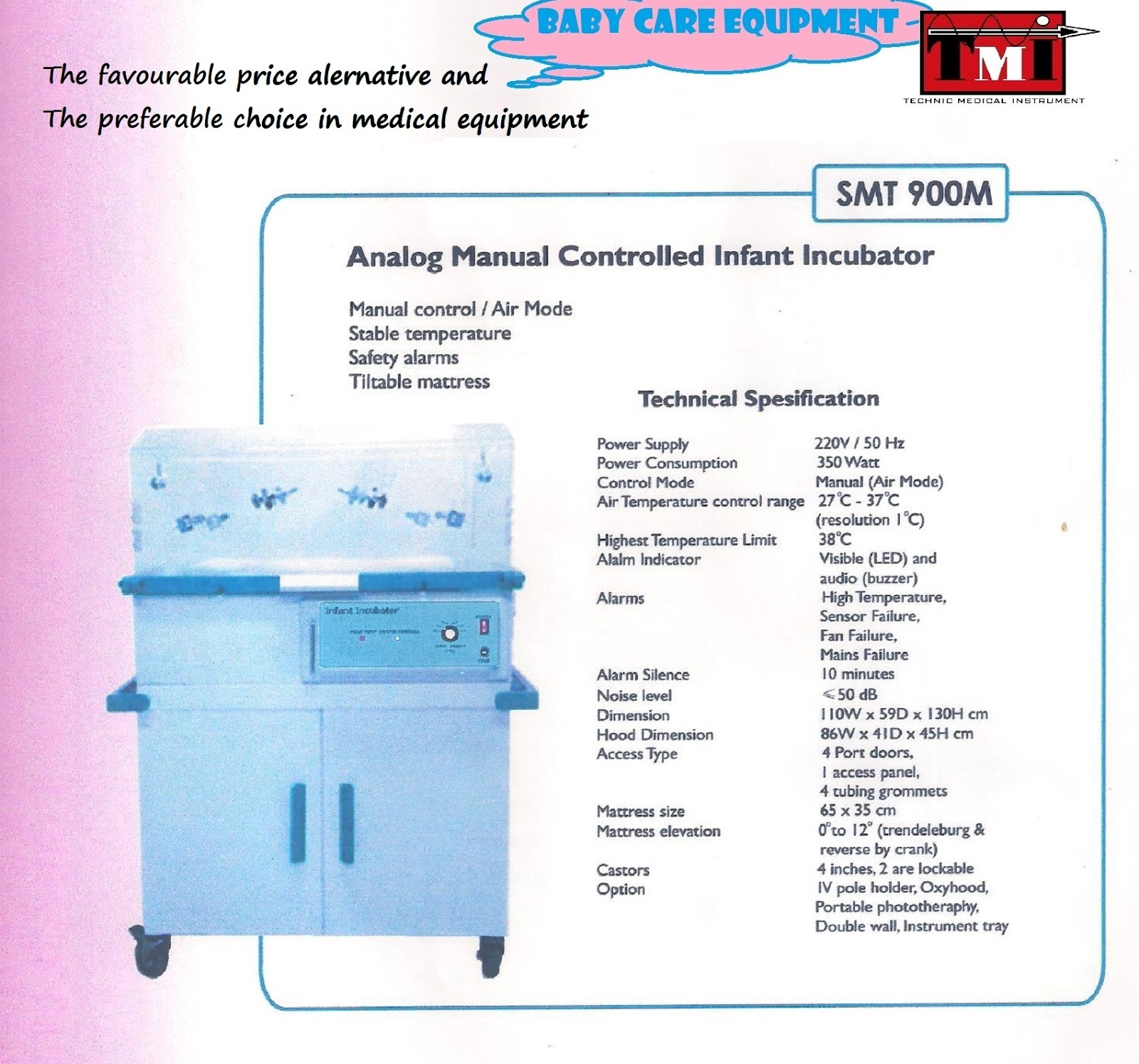 Technic Medical Instrument  Infant Incubator Controlled Manual Analog