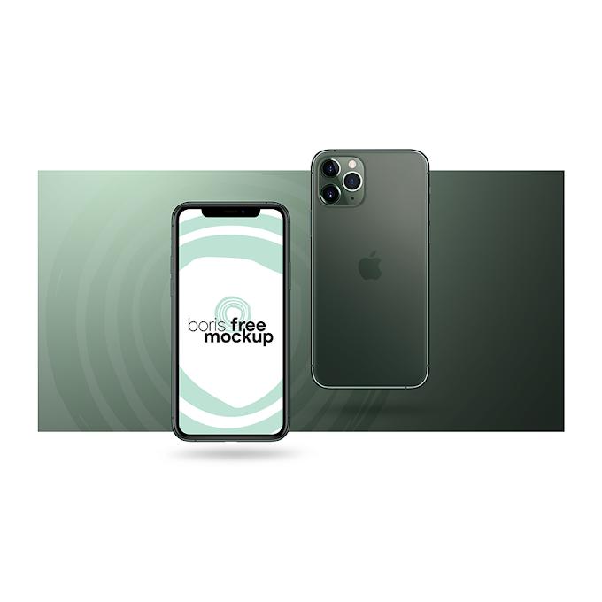 iPhone 11 Pro Max Green Mockup Free PSD