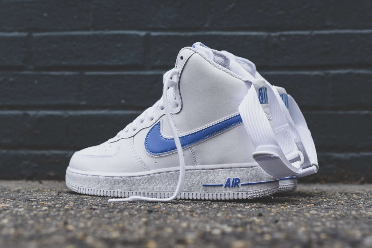 blue and white high top air force ones