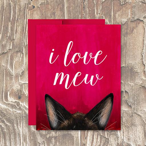 I Love Mew Cat Vday Card - Erin Clark - Inked in Red