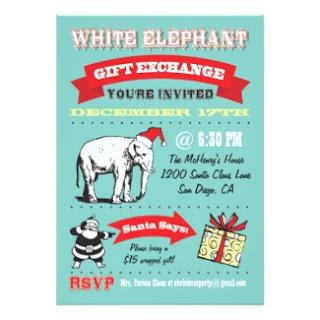 white elephant gift exchange invitation invite