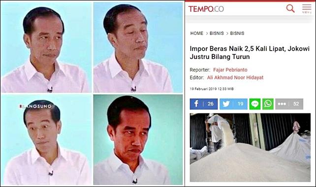 Hoax Petahana Tak Henti-henti, Jokowi Bilang Impor Beras Turun, Padahal Naik