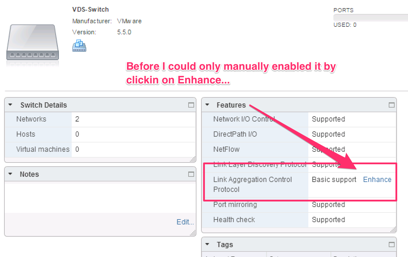 VMware vSphere v5 #-v6 # - Enhanced LACP Configuration via