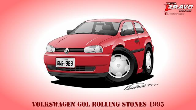 Imagem do Volkswagen Gol Rolling Stones 1995 Cartoon na cor vermelha.