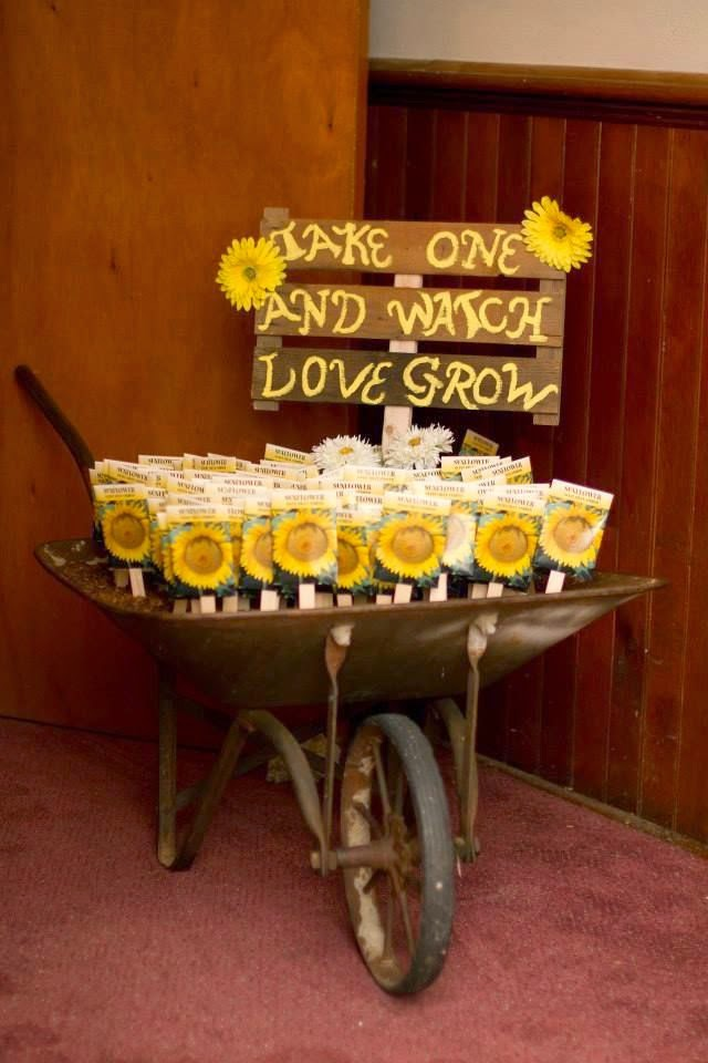 Sunflowers Wedding Favors Wheel Barrow Country