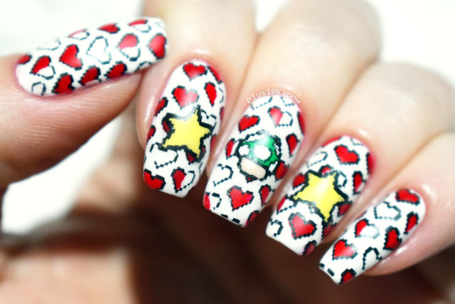 Super Mario 8-bit pixel gamer nerdy nails Maniology Rebel yell
