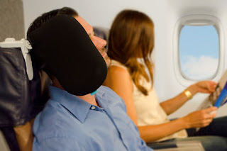 Cardiff Wings headrest in use on an airplane