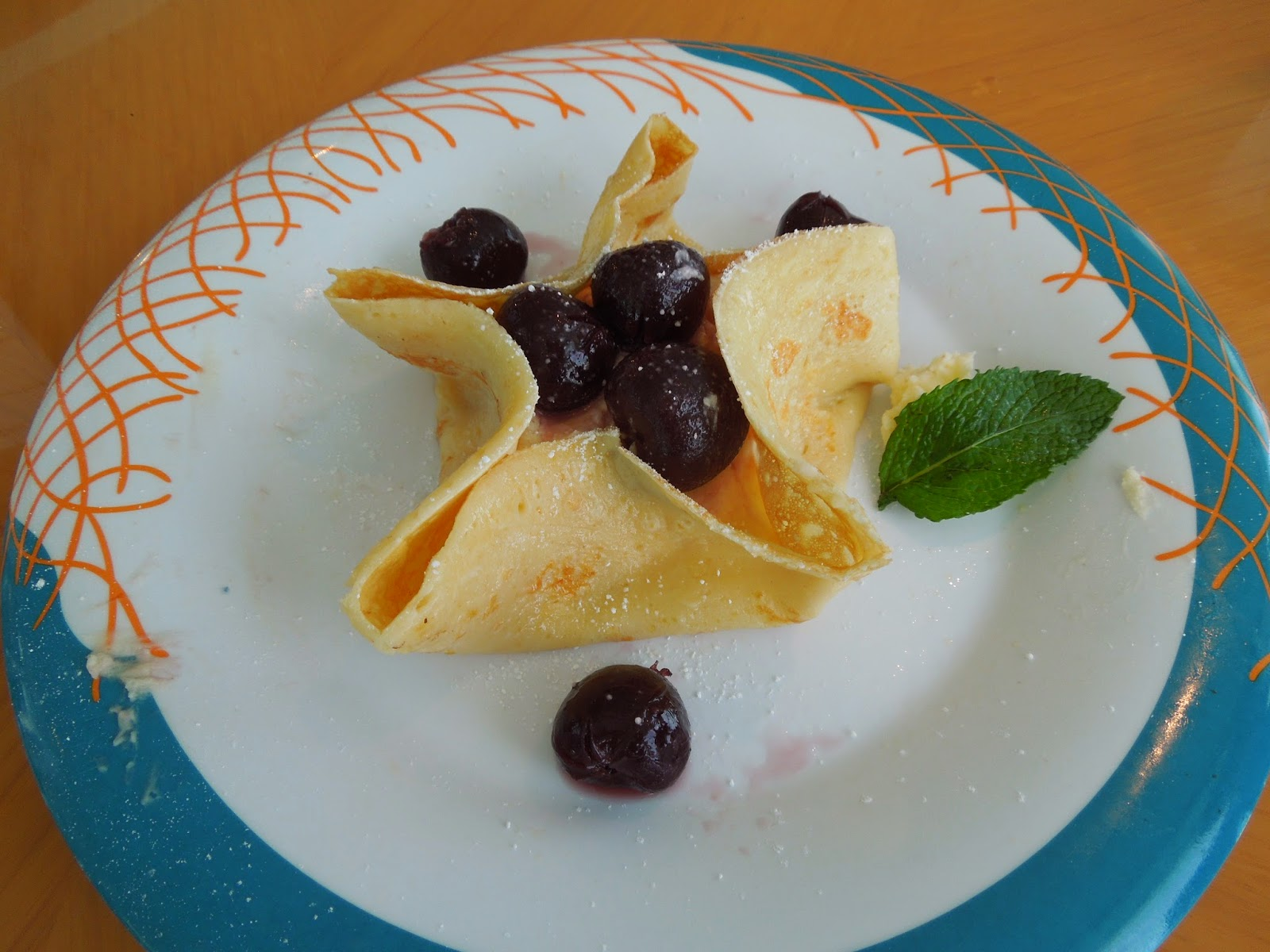 cherry and Kirsch cream crepe
