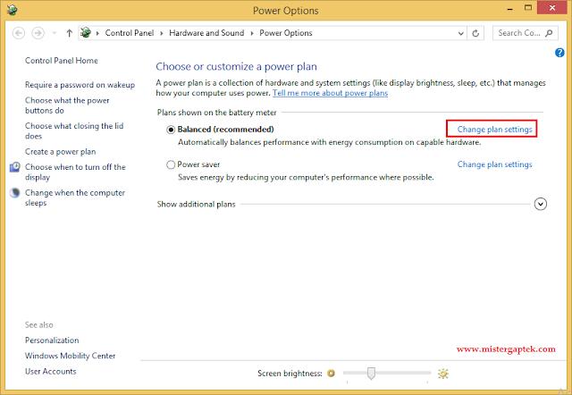 Cara Setting Laptop Agar Tidak Sleep Jika Dibiarkan pada Windows 8