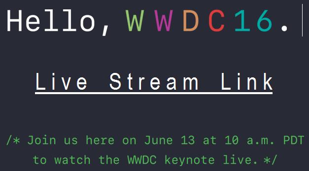 Live Stream WWDC 2016