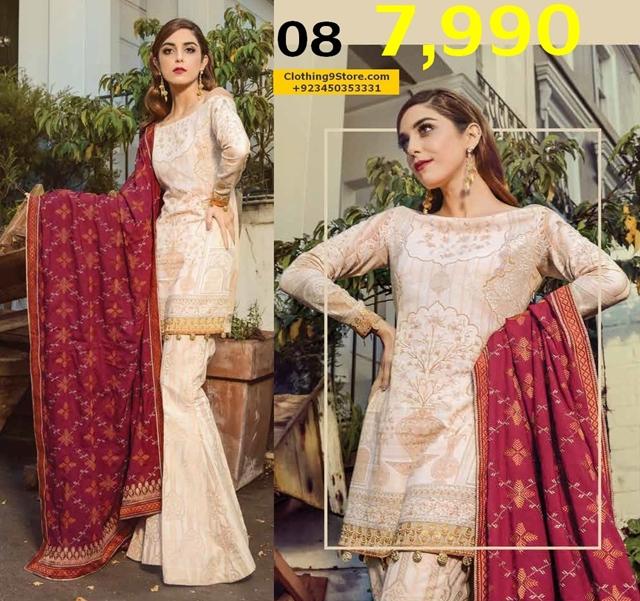 Maria B Winter Linen Dresses Collection 2017-2018