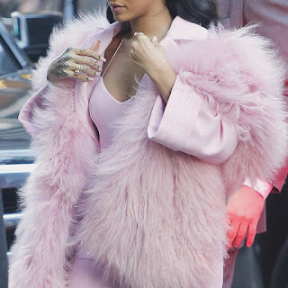 rihanna pink fur coat