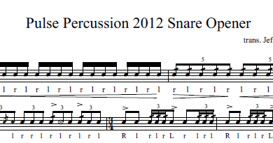 percussion and drum stuff pulse percussion 2012 snare solo sheet music. Black Bedroom Furniture Sets. Home Design Ideas