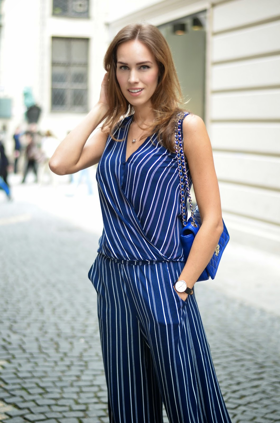 kristjaana mere striped navy jumpsuit summer outfit