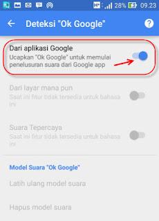 Mengaktifkan fitur ok google