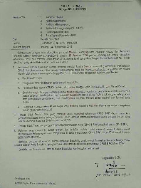 Nota Dinas Penerimaan CPNS BPK 2016