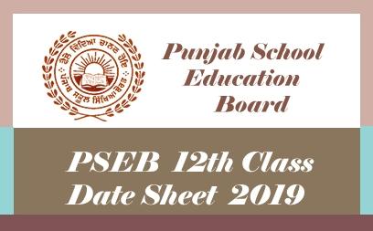 PSEB 12th Date Sheet 2019, Download PDF Punjab +2 Time table