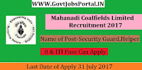 Mahanadi Coalfields Limited Recruitment 2017– 992 Security Guard, Helper