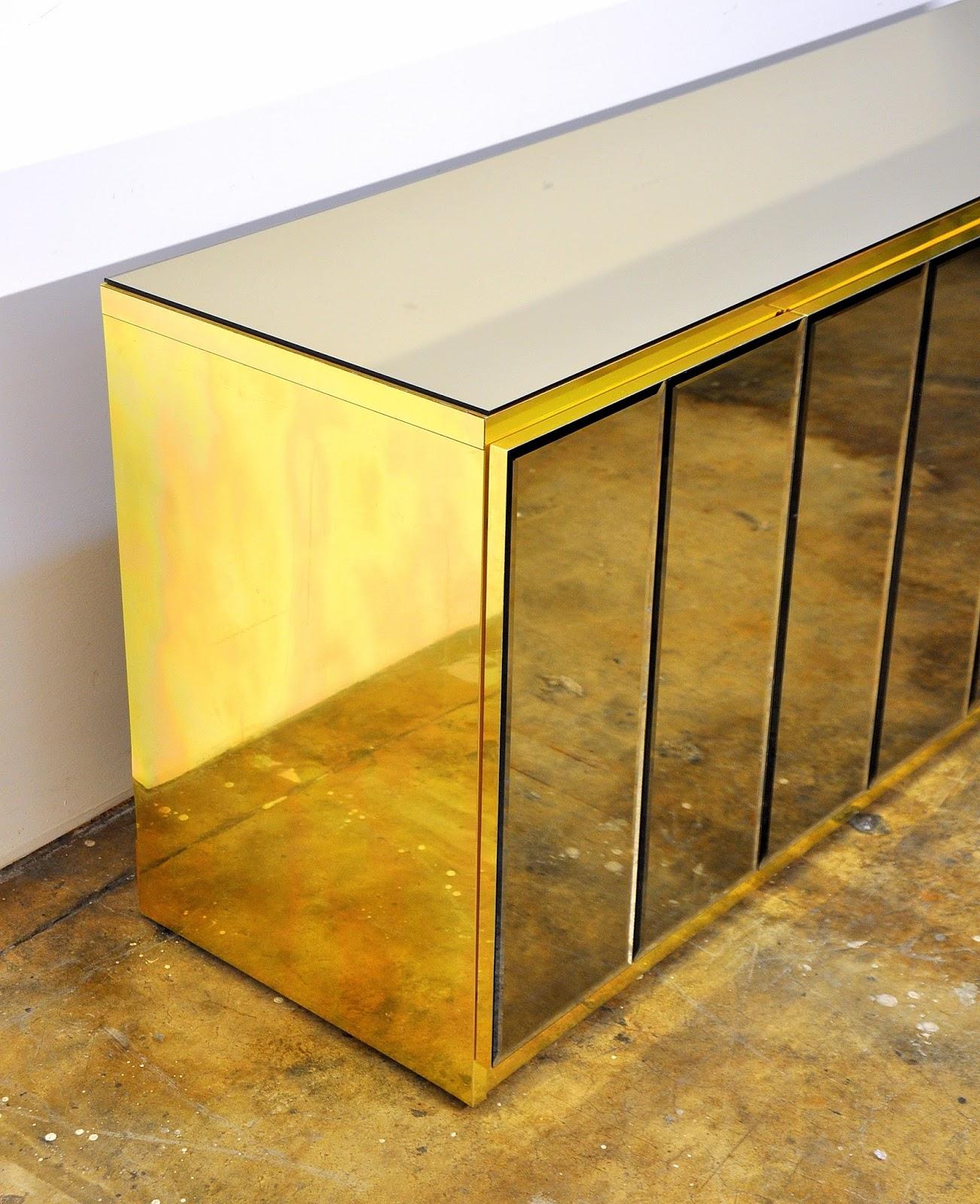 SELECT MODERN Ello Mirrored and Brass Credenza Bar